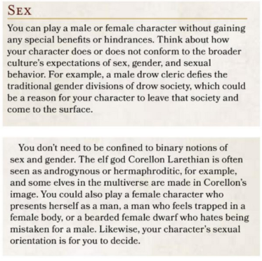 D&D 5th Edition Player's Guide Gender Blurb.